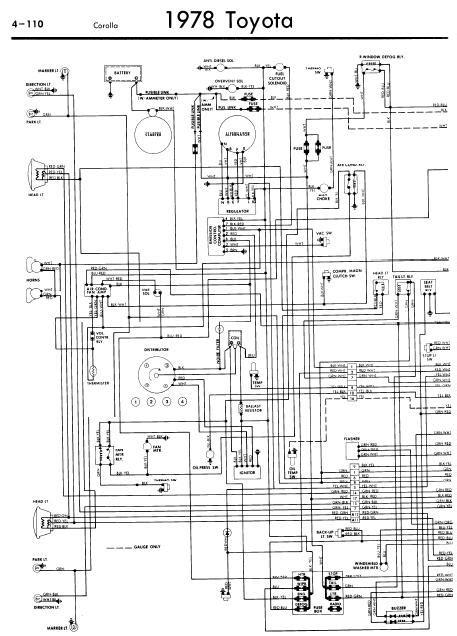 repair-manuals: Toyota Corolla 1978 Wiring Diagrams