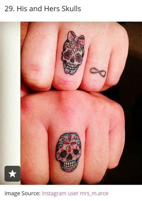 his and her sugar skulls tattoos i admire pinterest