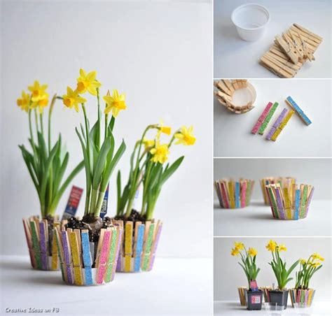 Handmade Projects - diy clothespin flower pot diy projects usefuldiy