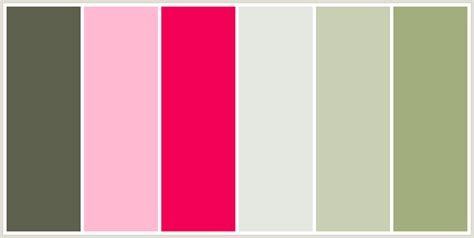 color combination with pink colorcombo126 with hex colors 5c604d ffbad2 f20056