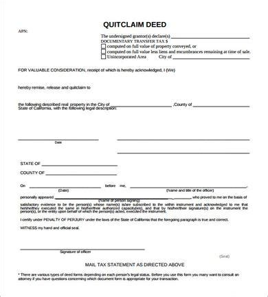 sample quit claim deed templates   ms word