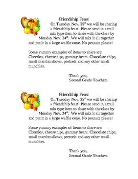 Parent Letter For Thanksgiving Feast Friendship Feast Easy Thanksgiving Activity By Marissa Graff Tpt