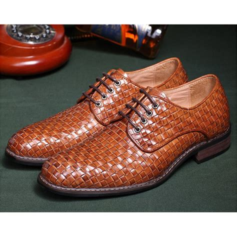 shoes genuine leather braided mens dress shoes