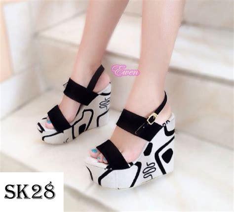 jual sepatu sandal wedges wanita cewek pesta high heel hak tinggi sk28 cheap grosir