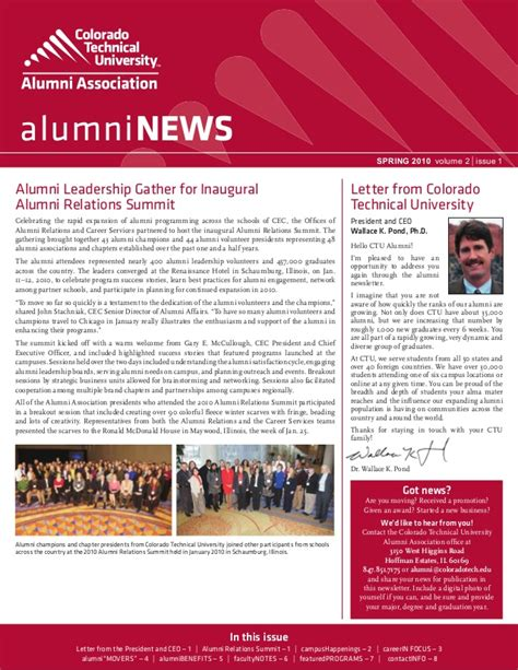 Colorado Technical University Alumni Newsletter Spring 2010 Alumni Email Template
