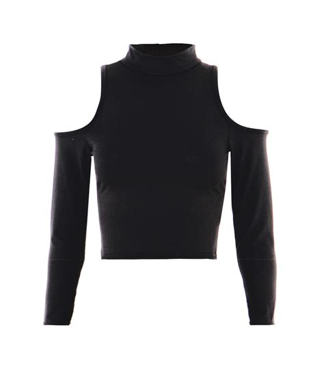 Cutout Shoulder Sleeve Top womens turtle roll high neck cut out shoulder sleeve