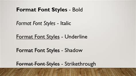format html bold format font attributes styles in powerpoint 2016 for