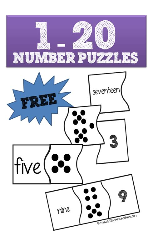 printable numbers 1 20 display 1 20 number puzzles are a fun way for preschool