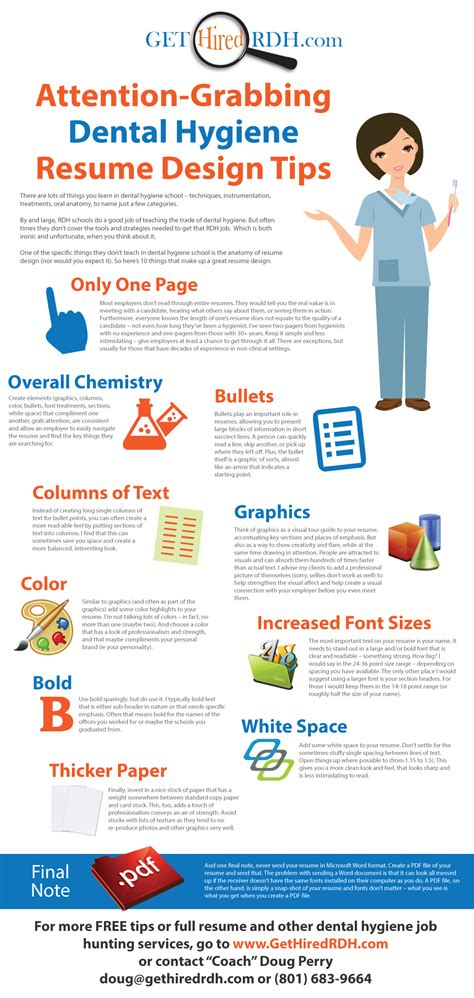 attention grabbing dental hygiene resume design tips www gethiredrdh rdh tips