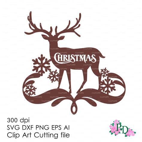 reindeer printable wall art christmas deer reindeer wall decor decal vinyl svg dxf ai