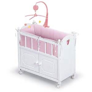 badger basket doll crib with cabinet bedding and musical