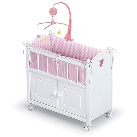 Baby Doll Beds Walmart by Badger Basket Doll Crib With Cabinet Bedding And Musical