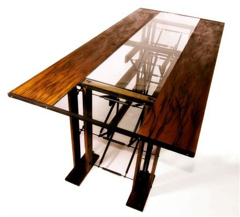 custom dining table infused with wood metal tubing