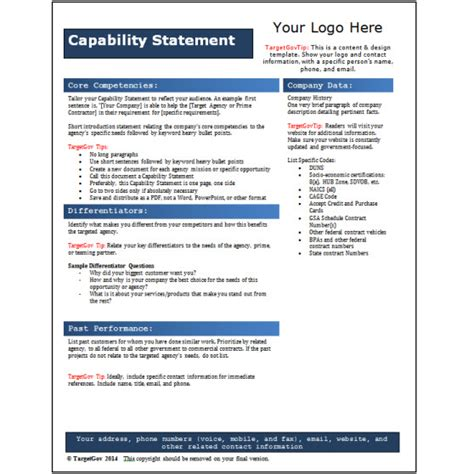 capability statement template word capability statement editable template blue targetgov