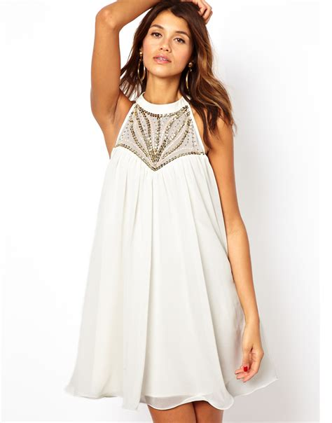 Lipsy Embellished High Neck Swing Dress In White Lyst