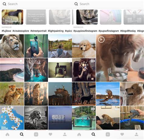 nuovo layout instagram in progetto nuovo layout per il tab esplora di instagram