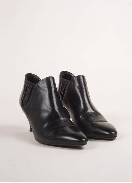 black leather ruched pointed toe ankle booties luxury