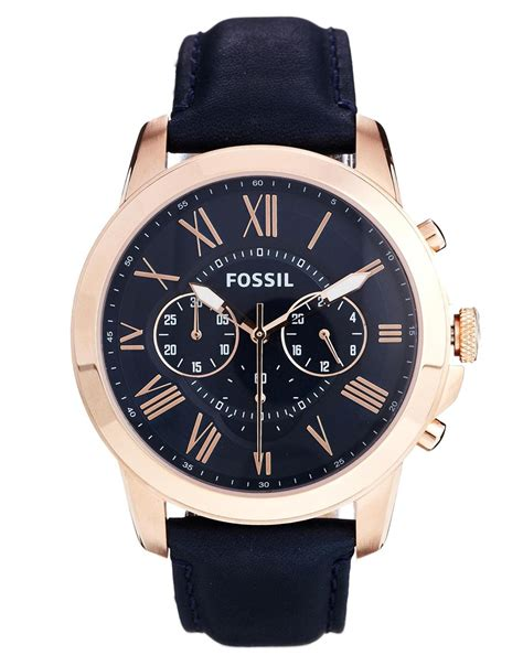 Fossil Fs 4835 Leather Blue Black Grade lyst fossil grant blue leather chronograph