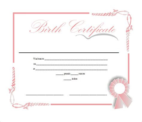 birth certificate templates free sle birth certificate 18 free documents in word pdf