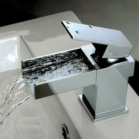 Wall Mounted Bath Shower Mixer Tap arian square waterfall mini basin mixer tap