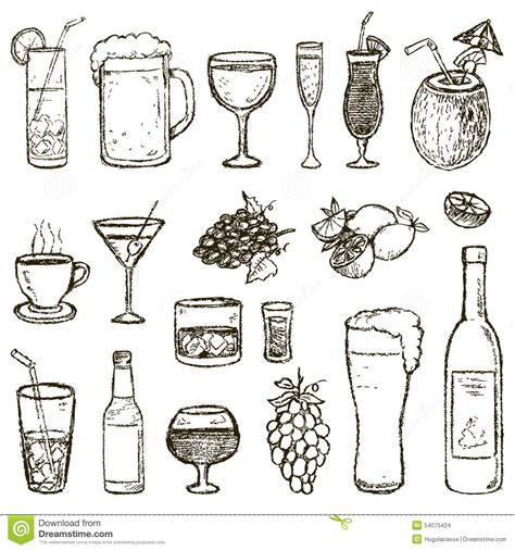 cocktail sketch set of vector sketch cocktails and alcohol drinks stock