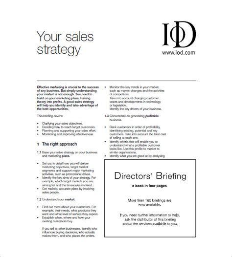 sales plan format sales and marketing plan template 10 free sle