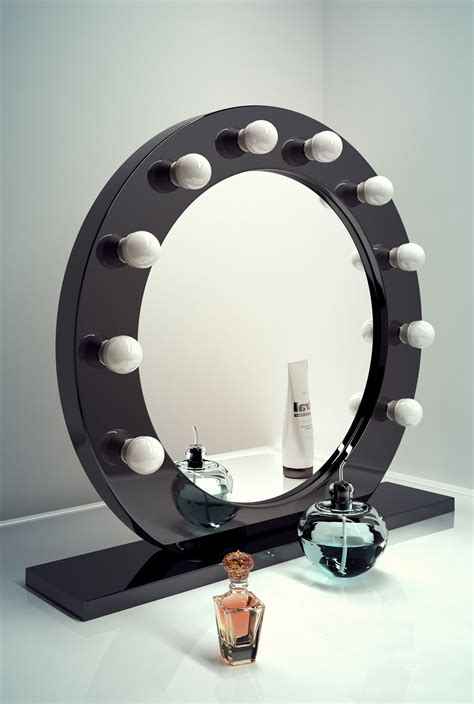 cool mirror high gloss black round hollywood makeup mirror with cool