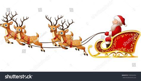 santa claus rides reindeer sleigh on stock vector illustration 539042494