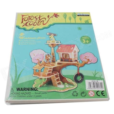 Robotime Watchtower House robotime f110 wooden model watchtower puzzle toys yellow green free shipping