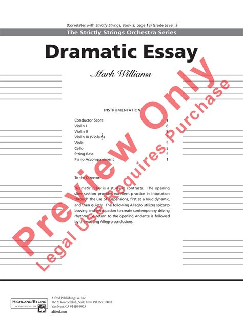 Dramatic Essay by Dramatic Essay By Williams J W Pepper Sheet