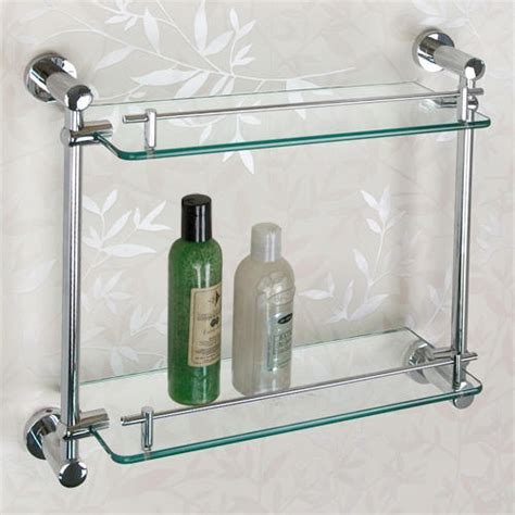 Ceeley Tempered Glass Shelf Two Shelves Bathroom Bathroom Shelves Glass