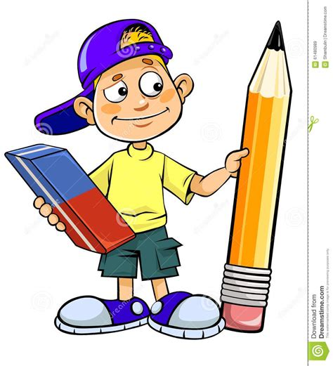 libro female erasure what you cartoon kid holding pencil and eraser stock illustration illustration of carrying equipment