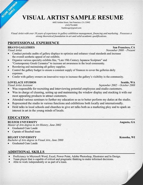 Artist Resumes by Visual Artist Resume Resumecompanion Resume
