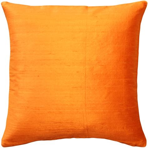Orange Toss Pillows by Sankara Orange Silk Throw Pillow 18x18