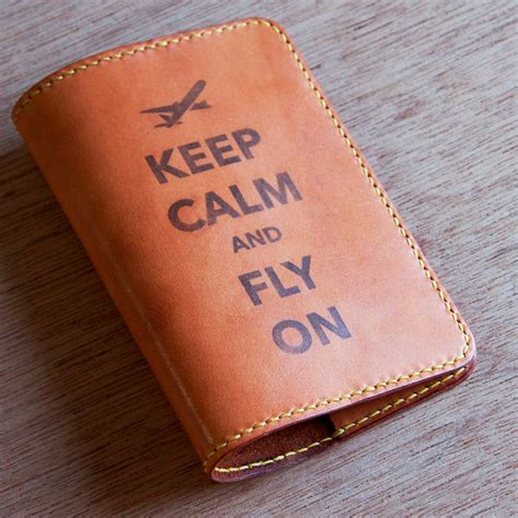Handmade Leather Passport Cover - rustic leather passport holder keep calm and fly on by loft852
