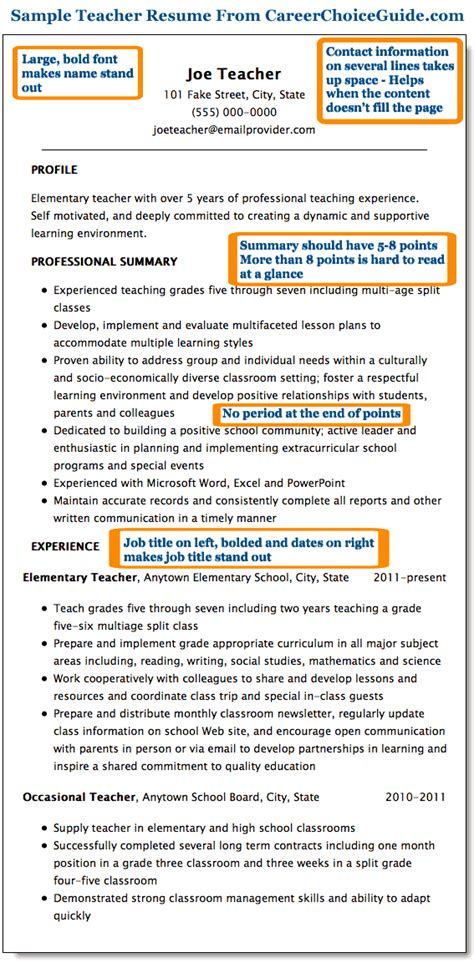 Career Summary Examples For Resume by Sample Teacher Resume Combination Style