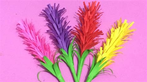 How To Make Colored Paper Flowers - how to make lavender flower with color paper paper