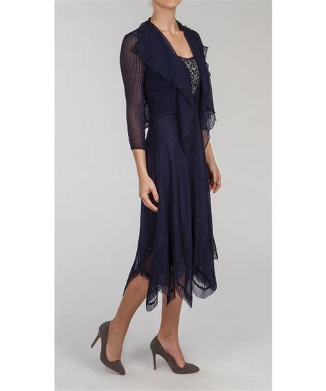 Hem Sabri Blue 4 komarov handkerchief hem dress w jacket in blue midnight lyst