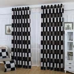 White Thermal Blackout Curtains Blackout Bedroom Or Living Room Polyester Black Checkered