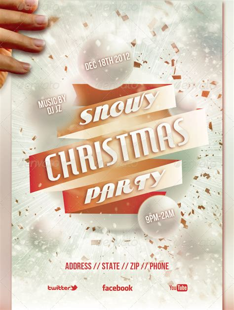 Snowy Christmas Party Flyer Template By Loswl On Deviantart Snowy Flyer Template