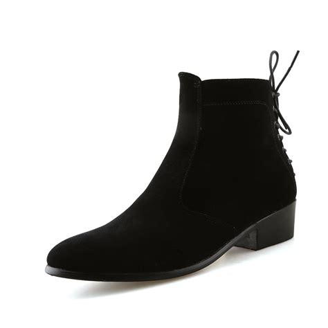shoes high heels boots fashion ankle boots suede heel genuine leather martin