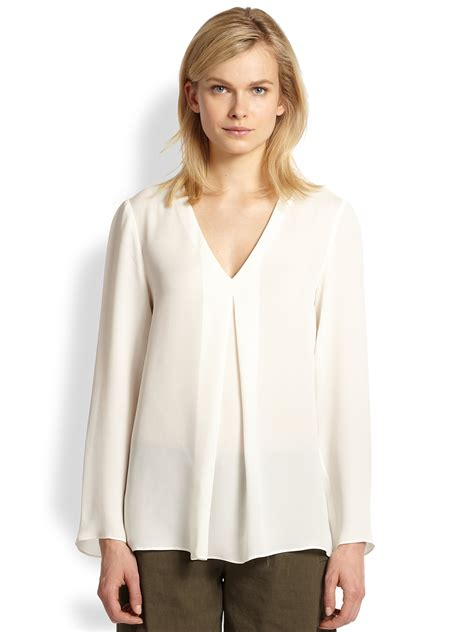 Gap White Pleated Blouse theory trent silk inverted pleat blouse in white ivory