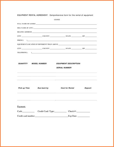 equipment rental lease agreement template 9 equipment rental lease agreement template purchase