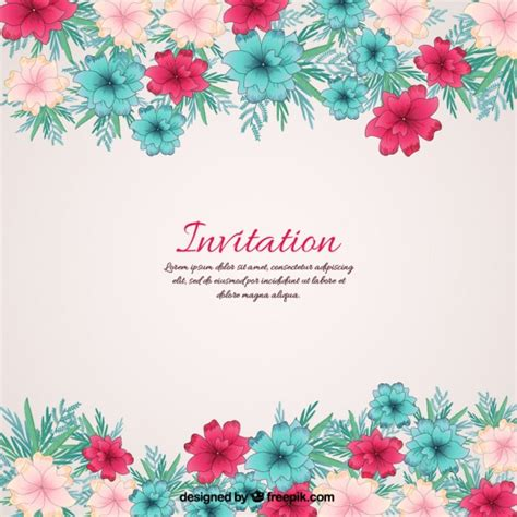Floral Invitation Vector Free Download Flower Invitations Templates Free