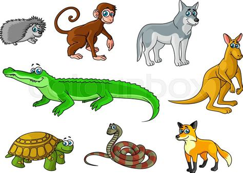 Wolf Home Decor by Cartoon Forest And Jungle Animals Characters With Cute