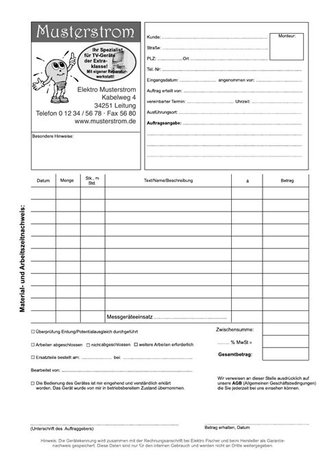 Angebot Schriftlich Bestätigen Muster Arbeitsnachweis Muster F 252 R Elektrohandwerk Durchschreibsatz