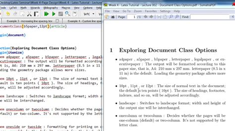 latex tutorial itemize week 4 latex tutorial lecture 002 document class options