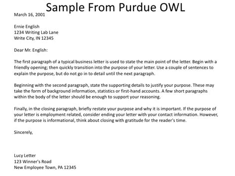 Thank You Letter Format Owl Purdue Owl Business Letter Crna Cover Letter