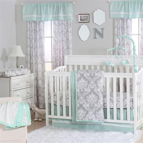 Mint Green Crib Bedding Grey Damask And Mint Green 4 Baby Crib Bedding Set By The Peanut Shell Ebay