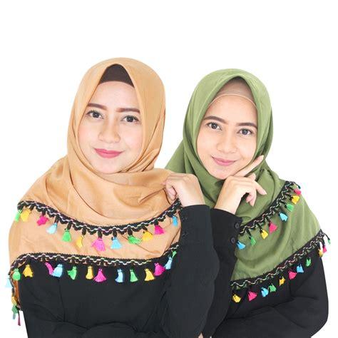 Preloved Baju Dress Seken Bahan Batik Bekas Hijau jilbab segiempat tassel jilbab segi empat tassel kerudung tassel segi empat elevenia